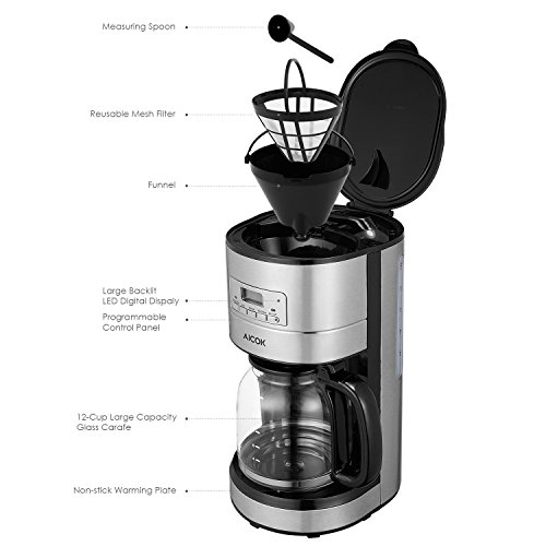 12 Cup Coffee Maker With Programmable Clock (49615) : Aicok Coffee Maker, 12 Cup Best Coffee Maker with Coffee Pot, Programmable Coffee Maker with ...