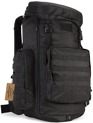 ArcEnCiel Hiking Daypacks 70-85L Tactical Travel Backpack MOLLE Rucksack Large Capacity Outdoor Bag for Travelling Trekking Camping Hunting - Rain Cover Included (Black)