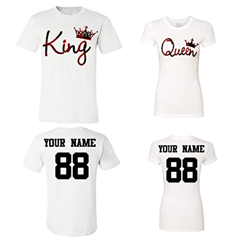 King Queen Customized Couple Shirts, Custom Names and Numbers Plaid Army Anniversary Wedding Matching T-Shirts -
