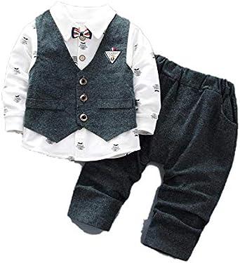 HBODHBGS Ropa de Boda Traje Formal para niños Camisa de niño + Chaleco + Pantalones Conjuntos de Ropa para niños Dark Grey 4T: Amazon.es: Ropa y accesorios