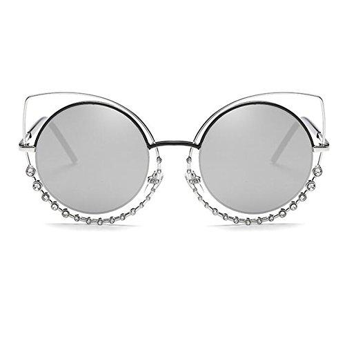 métal Mode plat Eye Cat soleil de en pour femmes miroir cadre rond lunettes lentilles Argent lunettes les de Inlefen zdwE5vxz