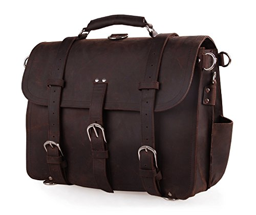 Polare Thick Full Grain Leather Shoulder Briefcase Satchel Messenger Bag For Men(Dark Brown) by Polare