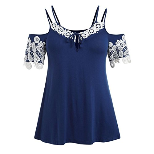 (Alluing Stylish and Comfortable Women Plus Size Cold Shoulder Lace Applique Stitching 1/2 Sleeved Top Blouse (Blue, L))