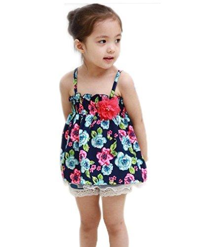 Urparcel Girls Floral Mini Dress Spaghetti Straps Tops Vest T-shirt Shirt 1-4y