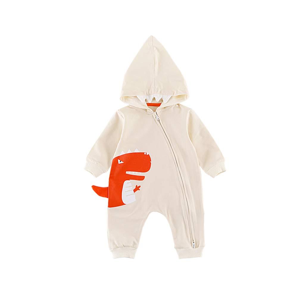 Digirlsor Baby Boys Girls 3D Cartoon Dinosaur Hooded Romper Jumpsuit One Piece Zipper Climb Clothes Playsuit,3-18M