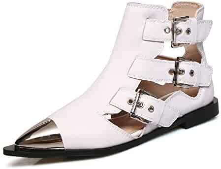 75f5a613f096 Cowboy Ankle Boots Women Metal Buckle Style Cut Out Western Flat Boot  Summer Genuine Leather Pointed
