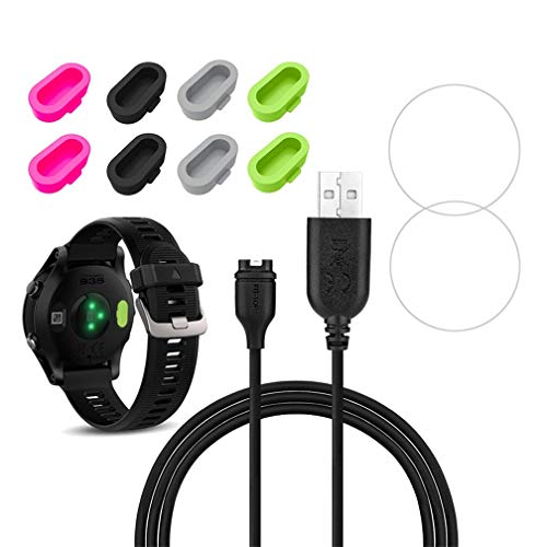 X1 for Garmin Forerunner 935 Charger Charging Clip Sync Data Cable and 2pcs Free HD Tempered Glass Screen Protector and 8Pcs Charger Port Protector dustproof Anti Dust Plugs Caps (Garmin 910 Accessories)