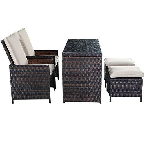 Tangkula 5PCS Brown Cushioned Ottoman Rattan Patio Set Outdoor Furniture Garden