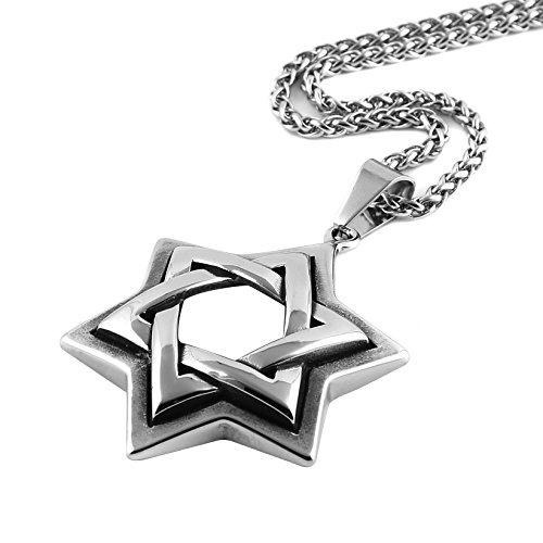HZMAN Jewish Jewelry Magen Star of David Pendant Necklace Women Men Chain Stainless Steel Israel Necklace