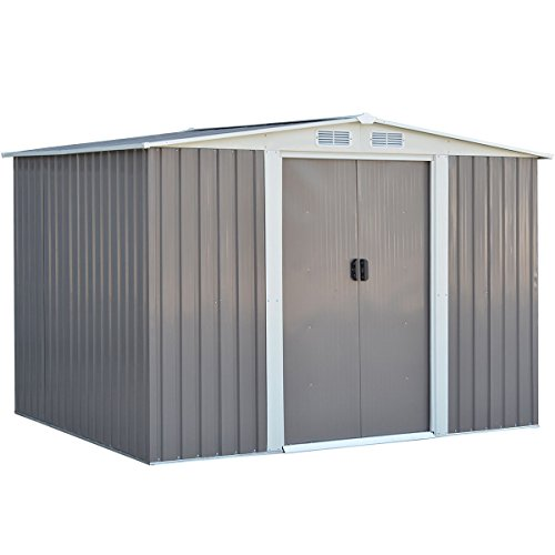 Goplus Galvanized Steel Outdoor Garden Storage Shed 6 x 8 Ft Heavy Duty Tool House W/ Sliding Door (Gray)