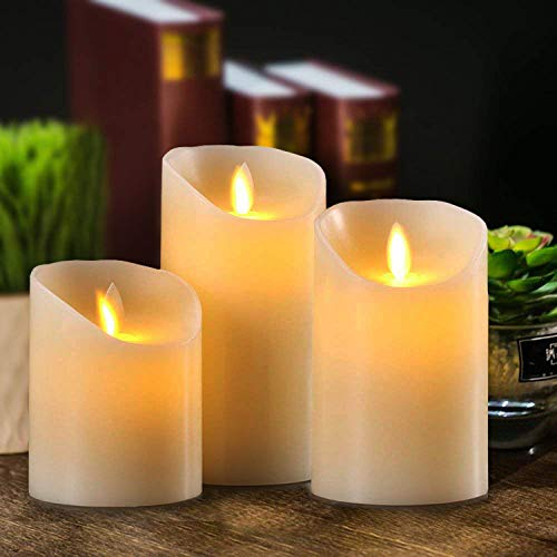ShengLong Flickering Flameless Candles,Led light Candle with,Set of 3 Ivory Wax Flickering Amber Yellow Flame, Auto-Off Timer Remote Control Fake Battery Operated Candles. Xmas Table Dress wax Candle.