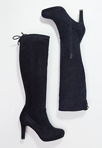 Length Zipper Navy Black Knee Boots Womens Anna Field With Boots High Stretch Boots Fall Drawstring High Blue Knee Taupe or Stiletto Heel Navy In and xaAxg