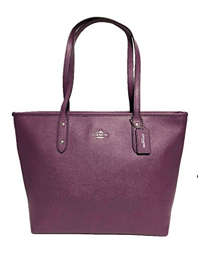 Coach City Crossgrain Leather Tote (SV/Berry)