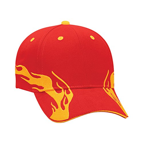 (Flame Pattern Brushed Cotton Twill Sandwich Visor Low Profile Pro Style Caps)