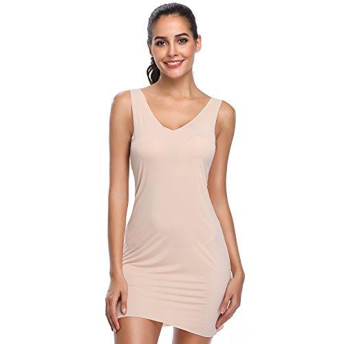Full Slips Under Dress Women Cami Seamless Body Shaping Control Slip Nightwear (Beige, S/M)