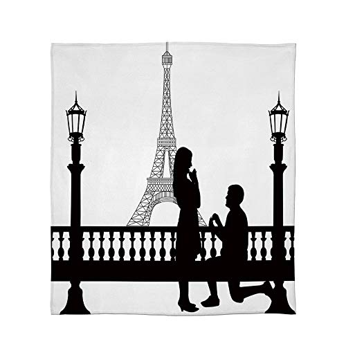 YOLIYANA Fine Flannel Blanket,Engagement Party Decorations,for Home Travel Camping,Size Throw/Twin/Queen/King,Paris Lovers City Wedding Proposal for Great -