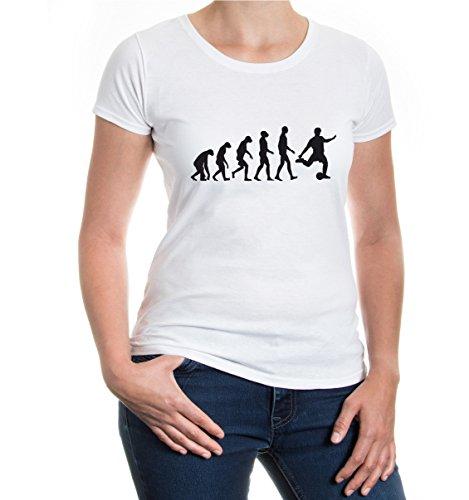 Girlie T-Shirt The Evolution of football | sport fútbol-XS-white-black
