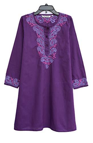 - Ayurvastram Aditi Pure Cotton Hand Embroidered Tunic: Purple, 16W