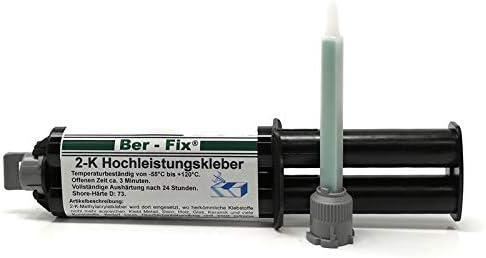 25g Ber-Fix EXTREMER 2K Hochleistungsklebstoff 3 Minuten 25 ml Spritze + 1 Mixtüllen - Super starken Halt - Harz und Härter - Klebt Glas | Stein | Keramik | Metalle | Edelstahl | Kunststoffe