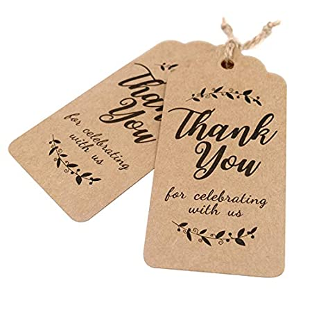 Fathers Day Gift Tags-Thank You for Celebrating with Us,100 Pcs Paper Tags with 100 Feet Jute Twine for Wedding,Birthday,Baby Shower Party Favors Leaves Brown