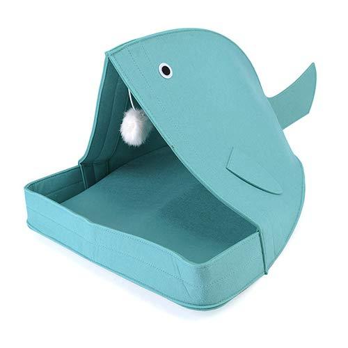 QNMM Confortevole Animali Domestici Gatti Letto Felt Nido Per Animali A Forma Di Pesce Bocca Squalo Staccabile Coperta Coperta Balena Kennel Traspirante Feltro Gatti Cuscino