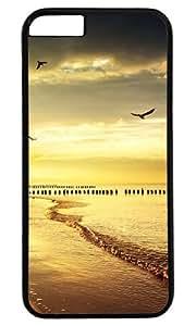 Beach Beautiful Scene DIY Hard Shell Black Designed For iphone 6 plus Case