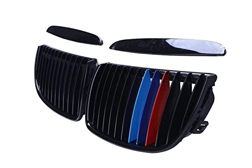 E90 Grill M-Color Gloss Black Front Hood Kidney Grille Grill For BMW 3 Series BMW E90 2005-2007