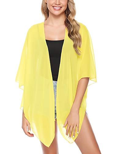 (iClosam Women Lightweight Chiffon Cover Up Sheer Kimono Short Sleeve Cardigan Beach Cover Up (Yellow, Small))