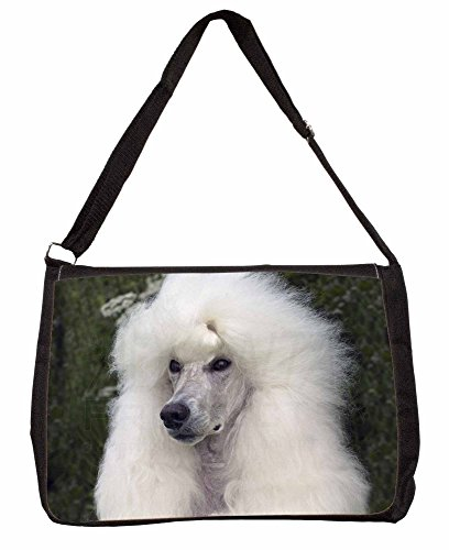 White Poodle Dog Large 16 Black School Laptop Shoulder Bag hINReHem
