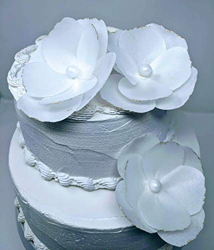 1 set of Edible Rice Paper Flowers for Cake Topper, Include 3 Flowers, Small Size, Gold Color around the Petals.