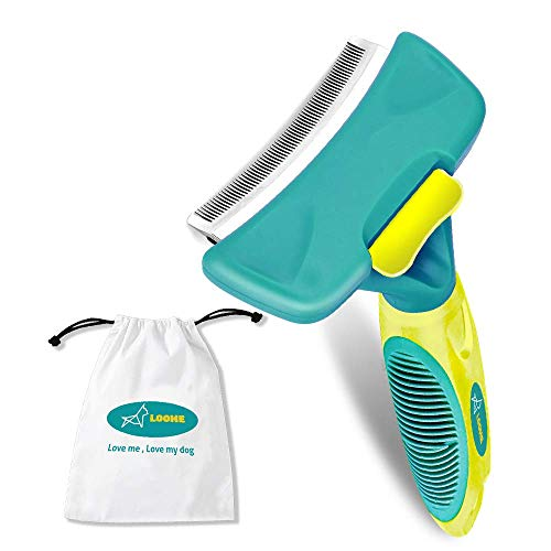 LOOME Pet Grooming Shedding Brush Set, New Updated Dog Cat Pet Brush Grooming Deshedding Tool with Self Cleaning Fur Remover Button, Brush Comes with Gift Bag