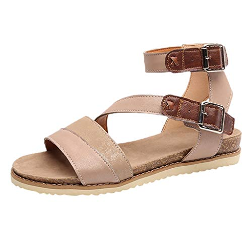 (TANGSen Women's Ladies Fashion Flat Sandals Round Toe Cross Casual Belt Buckle Beach Sandals Roman Shoes Beige)