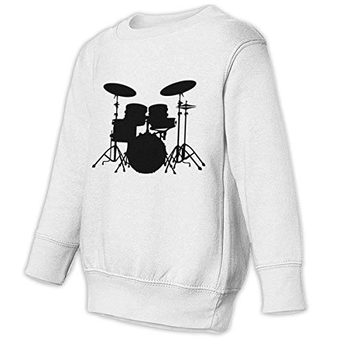 Reppusily Toddler Juvenile Drums Vector Casual Crewneck Pullover Hoodies for Baby Boys & Girls 2T White (Pedals Juvenile)