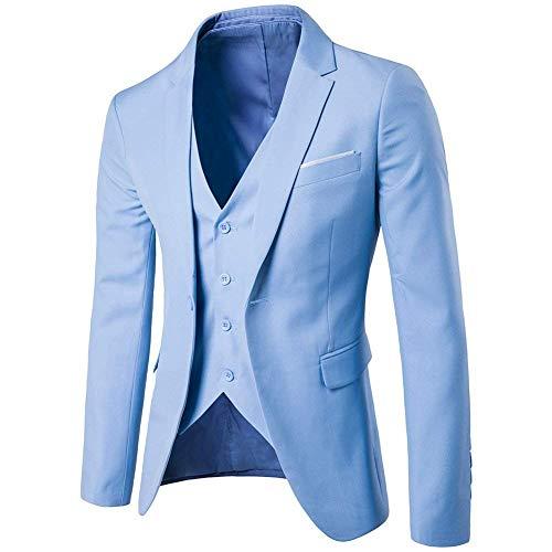 Pantalon Décontracté Gilet Clair Pièces Bleu coloré Blazer amp; Taille D'affaires Clair Pour 3xl Veste Costume Fuweiencore 3 Hommes Px5vqf6w