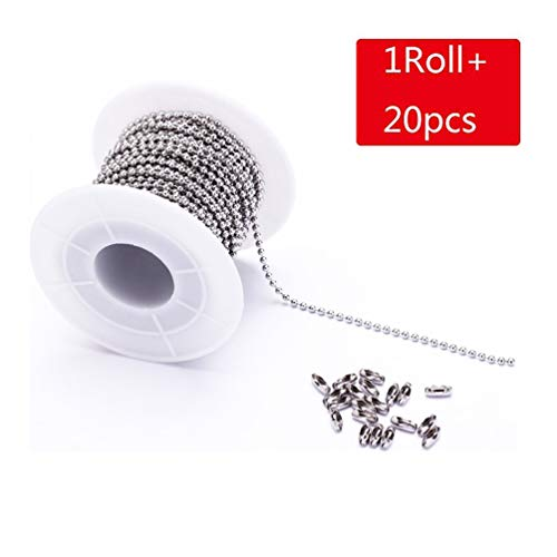 Tiparts 30 Feet Stainless Steel Ball Chains Necklace with 20pcs Connectors Clasps,Silver Bead Chain Sets (Chain Width 2mm+20pcs connectors)
