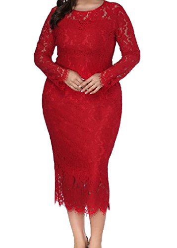Color Solid Long Lace Women Coolred Oversize 5XL Dress Evening Sleeve Red Party wxfaYXqF