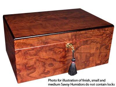 Savoy Large Ash Burl Humidor - Holds 100 Cigars