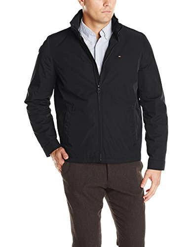 Tommy Hilfiger Men's Poly Twill Stand Collar Zip Front Jacket, Black, Large by Tommy Hilfiger
