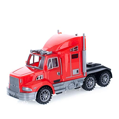 Semi Truck Bright Fire Brick Red 9 x 4 Acrylic Friction Powered Toy Vehicle