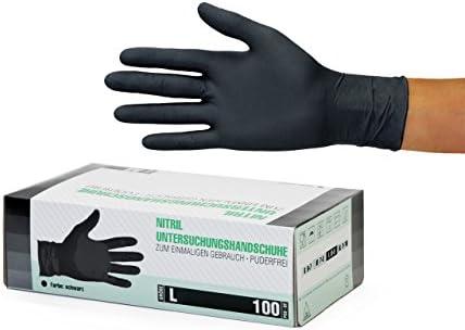 Guantes de nitrilo, 100 pcs caja (L, Negro), guantes de examen desechables libres de látex, sin polvo, limpieza guantes, sanitarios para la cocina, cocina limpieza, limpieza seguridad manejo de alimen: SF Medical