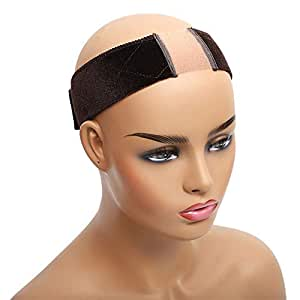 Aksice Non Slip Wig Grip Headband Velvet Wig Elastic Bands Extra Hold Wig Head Hair Band Adjustable Women Hair Scarf with 1 Wig Cap (Brown)