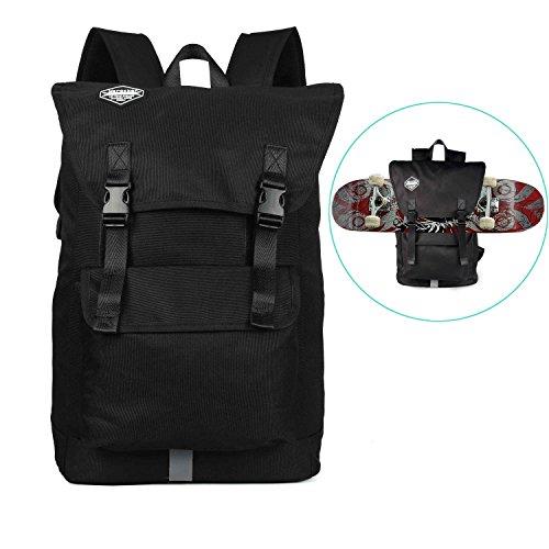 Huntvp Fashion Sport Backpack Skateboard Backpack Holder Large Capacity Skateboard Not Included
