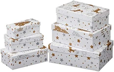 Mengger Weihnachten Geschenkbox 25 St/ück S/ü/ßigkeiten Karton Keksschachtel Pralinenschachtel mit B/änder H/ängeetiketten f/ür Weihnachten Geschenk Weihnachtsdeko Weihnachtsbaum Dekoration Schachtel