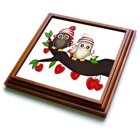 3dRose trv_269344_1 Cute Sweetheart Owls with Hearts Illustration Trivet with Tile, 8 by 8'' by 3dRose