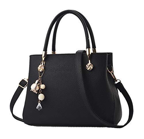 Handbags for Women Fashion Ladies Purses PU Leather Satchel Shoulder Tote Bags (Black2)