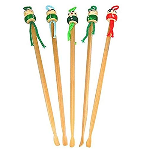 DierCosy 5-Piece Replacement Wooden Ear Wax Remover Cute Cartoon Ear Spoon Chinese Traditional Oriental Style Bamboo Titration Tool Household Supplies