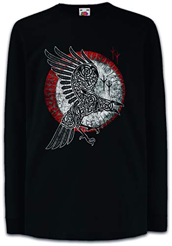 Urban Backwoods Norse Raven Kids Boys Girls Long Sleeve T-Shirt Black