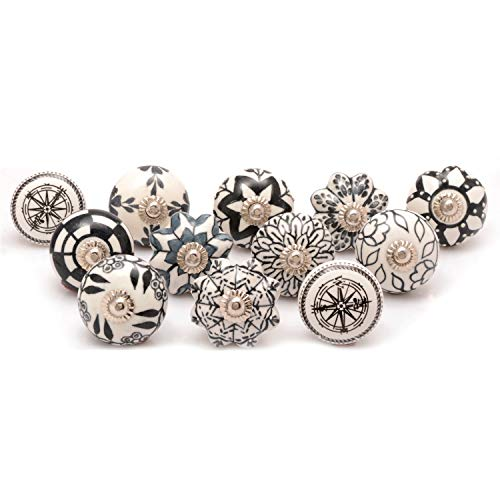 Pull Ceramic Knob - Zahra Premium Quality Traditional Ceramic Knobs- Pack of 12 Black & White Mix Designed Ceramic Cupboard Cabinet Door Knobs Drawer Pulls & Chrome Hardware
