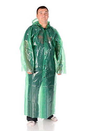 Outdoor Leisure Reusable Green Raincoat with Hood and Button Lock for Fishing Country UA Hiking