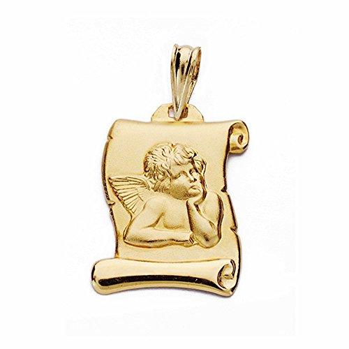 Parchemin pendentif 18k chérubin d'or ange 20mm moqueuse. [AA2503GR] - personnalisable - ENREGISTREMENT inclus dans le prix